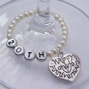 Happy Anniversary Personalised Wine Glass Charm - Full Bead Style